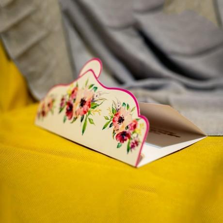 Invitatie de nunta Henrika Floral cu Buline Tip Plic