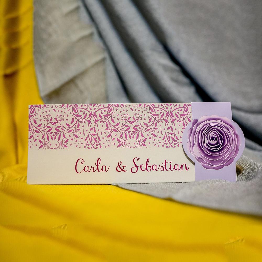 Invitatie de nunta Isabelline Floral Lila cu Bentitã - Bentitã