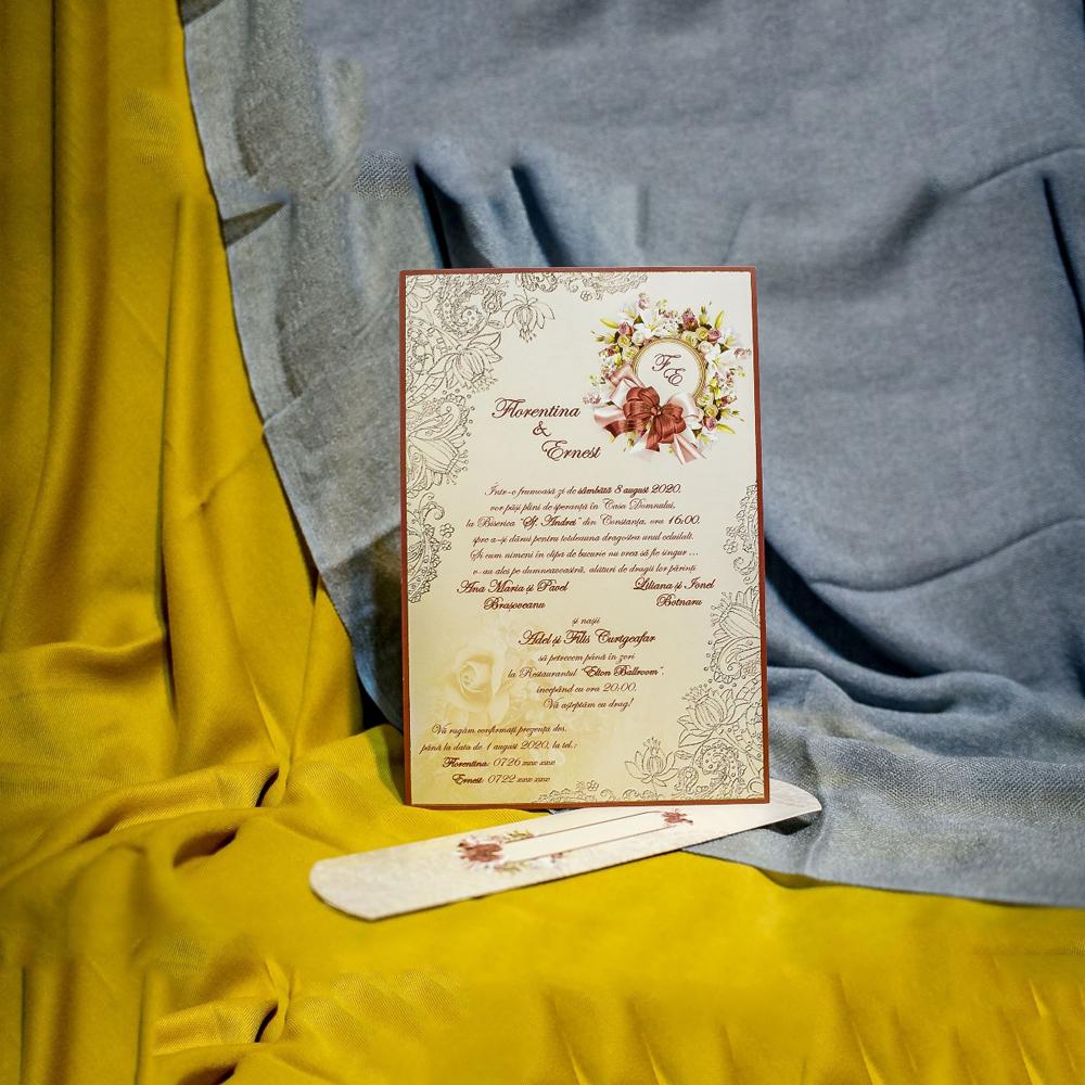 Invitatie de nunta Olympe Floral Damask Papirus