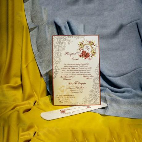 Invitatie de nunta Olympe Floral Damask Papirus - Damask