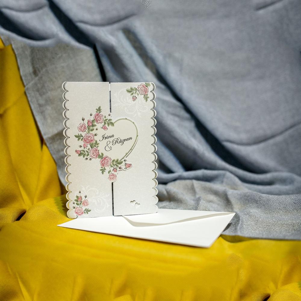 Invitatie de nunta Raphaela Inimioarã Floral - Emboss
