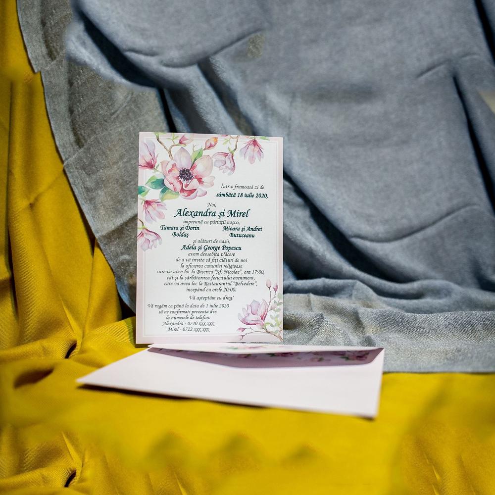 Invitatie de nunta Fenella Floral - Plic Imprimat pe Interior