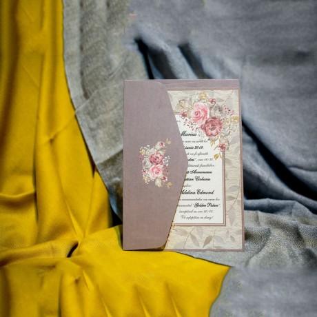 Invitatie de nunta Fernanda Chenar Floral - Plic Imprimat pe Interior
