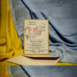 Invitatie de nunta Fernanda Chenar Floral cu Sclipici
