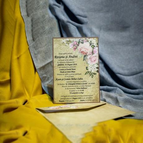 Invitatie de nunta Gwenore Floral Dantelat - Vintage