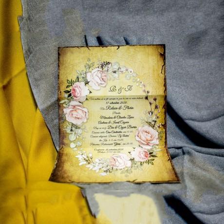 Invitatie de nunta Mauricia Floral Vintage cu Bentitã - Bentitã