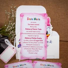Invitatie de botez Donata Daisy Duck Cutiuta