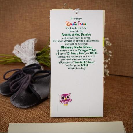 Invitatie de botez Phoenix Bufnite cu Fluturasi - Invitatii De Botez