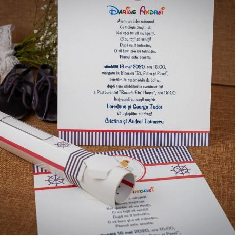 Invitatie de botez Bubba Ursulet Marinar Papirus