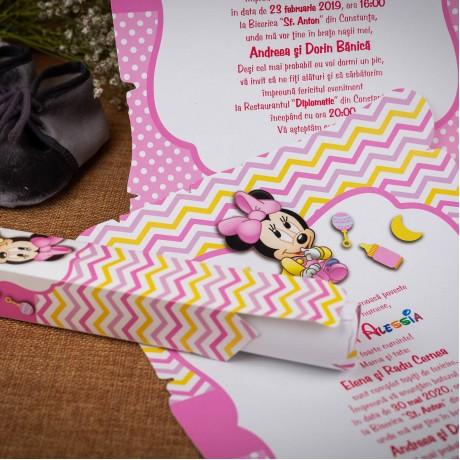 Invitatie de botez Betsy Baby Minnie Mouse Papirus - Invitatii De Botez