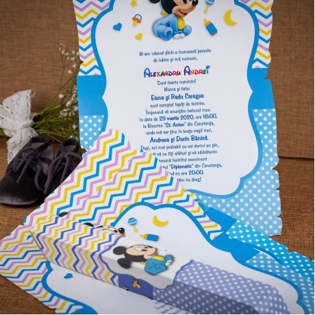 Invitatie de botez Denali Baby Mickey Mouse Papirus - Invitatii De Botez