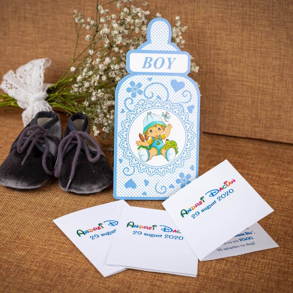 Invitatie de botez Arthur Bebe Cu Biberon - Invitatii De Botez