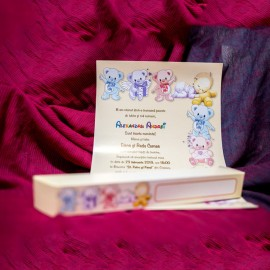 Invitatie de botez Brooklyn Ursulet Colorati Papirus