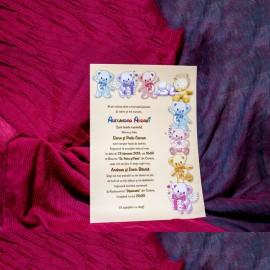 Invitatie de botez Brooklyn Ursulet Colorati Papirus