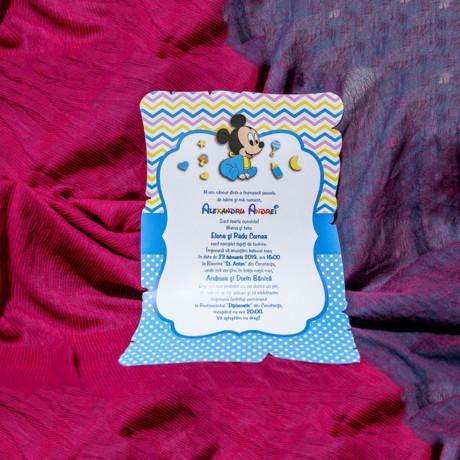 Invitatie de botez Denali Baby Mickey Mouse Papirus