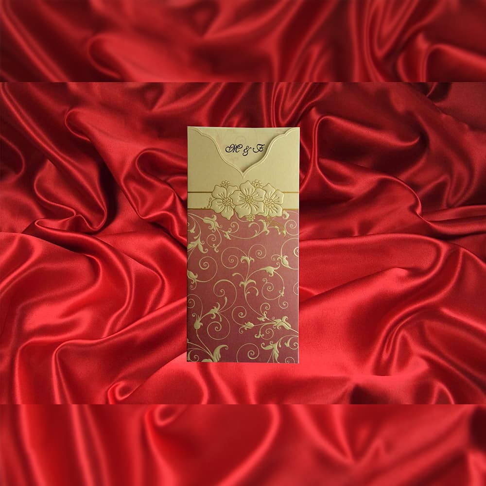 Invitatie de nunta Serilda Floral Emboss - TIPARIRE GRATUITA - Emboss