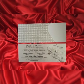 Invitatie de nunta Seraphia Floral Emboss Argintiu - TIPARIRE GRATUITA