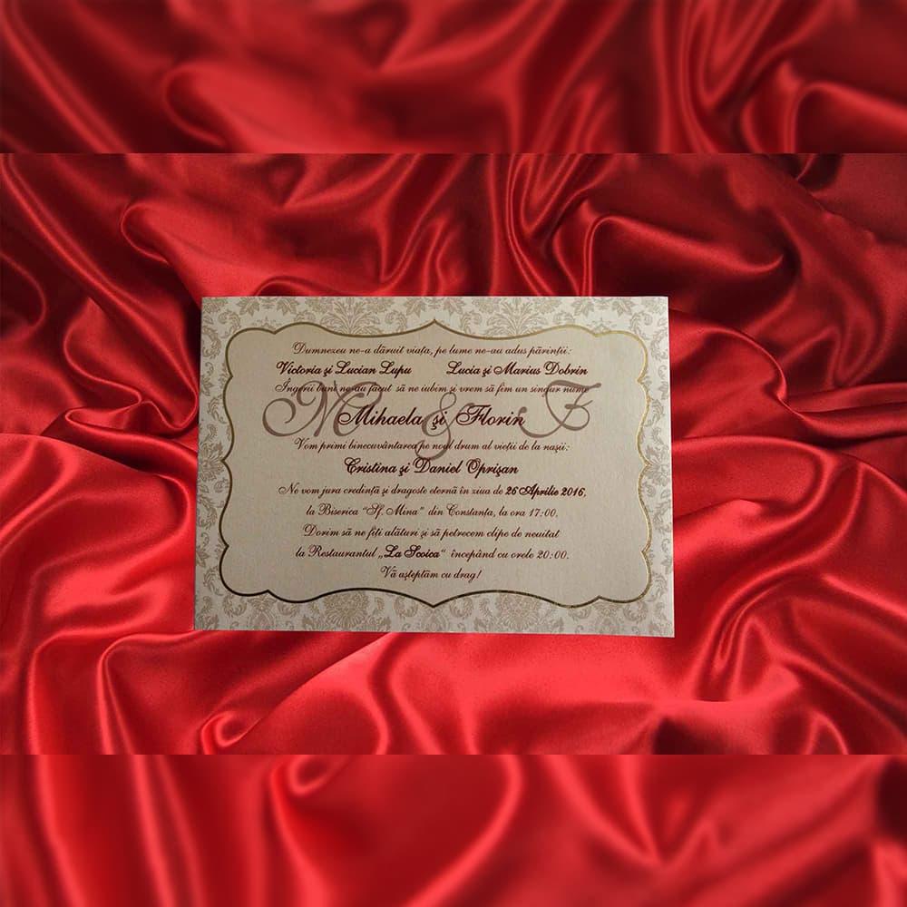 Invitatie de nunta Anthea Damask Chenar Auriu - TIPARIRE GRATUITA - Damask