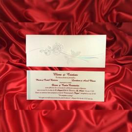 Invitatie de nunta Arnoldina Floral Argintiu - TIPARIRE GRATUITA