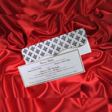Invitatie de nunta Berenice Damask Alb Sidef - TIPARIRE GRATUITA - Damask