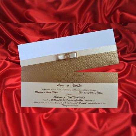 Invitatie de nunta Candace cu Funditã - TIPARIRE GRATUITA - Perle sau Fundite