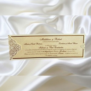 Invitatie de nunta Carlene Damask Auriu - TIPARIRE GRATUITA
