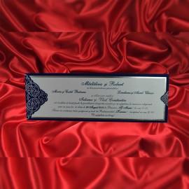 Invitatie de nunta Carlene Damask Albastru - TIPARIRE GRATUITA