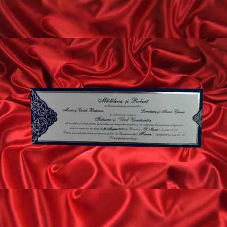 Invitatie de nunta Carlene Damask Albastru - TIPARIRE GRATUITA - Damask
