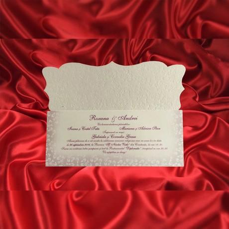 Invitatie de nunta Corentina Emboss cu Fundã - TIPARIRE GRATUITA - Perle sau Fundite