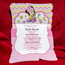 Invitatie de botez Egilona Minnie Mouse Baby - TIPARIRE GRATUITA