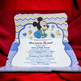 Invitatie de botez Annabel Baby Mickey Mouse - TIPARIRE GRATUITA