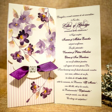 Invitatie de nunta Evelina Floral cu Panglicã - Panglicã