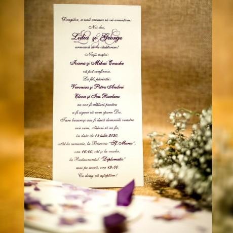 Invitatie de nunta Evelina Floral cu Panglicã
