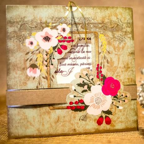 Invitatie de nunta Esme Vintage cu Chenar - Vintage