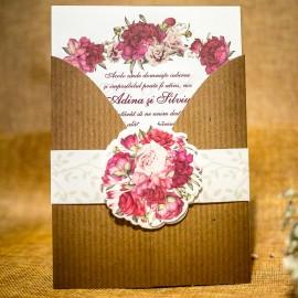 Invitatie de nunta Faustine Bentitã Floralã Vintage