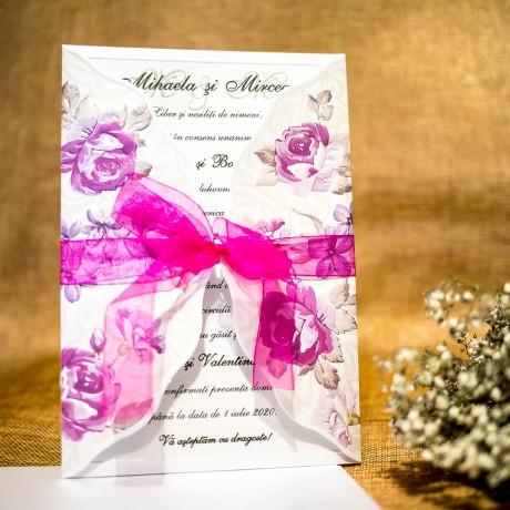 Invitatie de nunta Ginevra Floral Emboss cu Panglicã