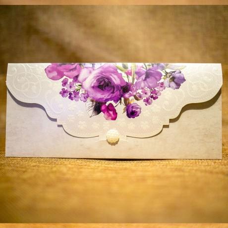 Invitatie de nunta Antonella Floral cu Perlã Tip Plic - Emboss
